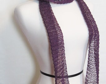 Royal Purple Hand Knit Summer Scarf. Light Weight Linen Scarf. Warm Weather Fashion Scarf. Ships Free in USA