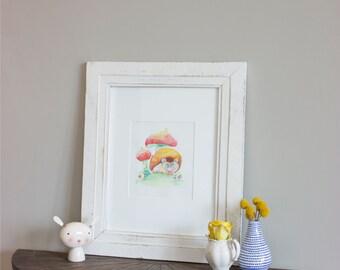 Hedgehog Nursery Illustration - Hedgehog Watercolor Painting - Hedgehog Nursery - Hedgehog Children's Art - Shabby Chic Nursery - Baby Art