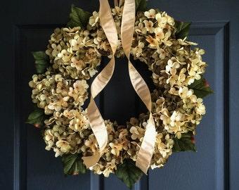Beautiful Blended Hydrangea Wreath | Front Door Wreaths | Green and Cream Hydrangeas | Spring Wreath | Summer Wreath | Housewarming Gift
