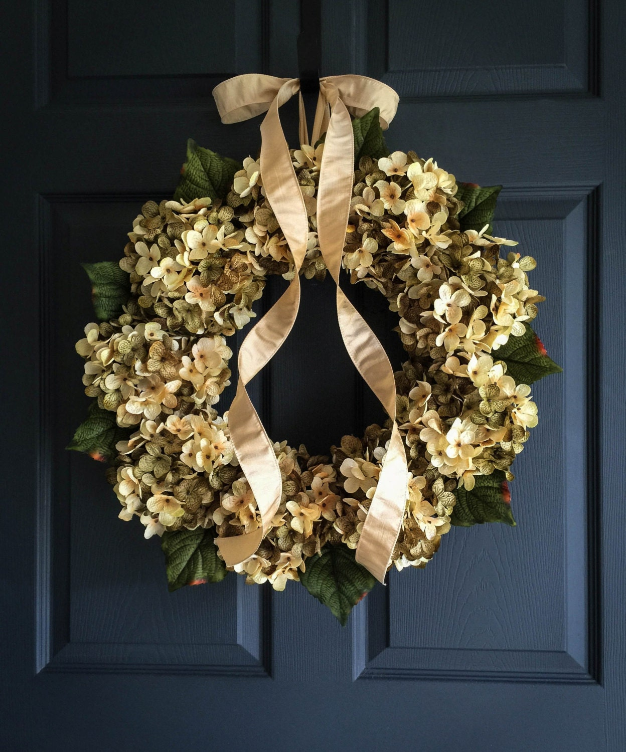 Beautiful Blended Hydrangea Wreath Front Door Wreaths