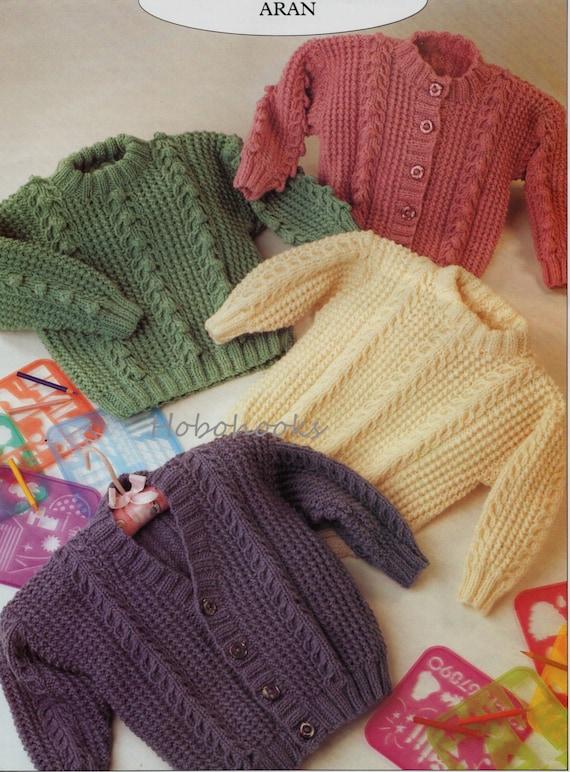 Baby Jumper Knitting Pattern : Baby knitting pattern childs aran jumper