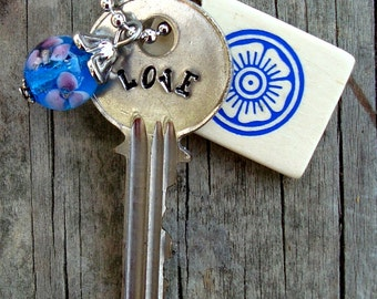 LOVE Key Necklace – Engraved Key Necklace – Hand Stamped Key Necklace – Key Charm Necklace – Word Key