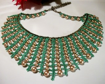 Gold Pearl Turquoise Brass Beaded Bib Collar Style Necklace STUNNING Gift Ideas in Fashion Jewelry for Women