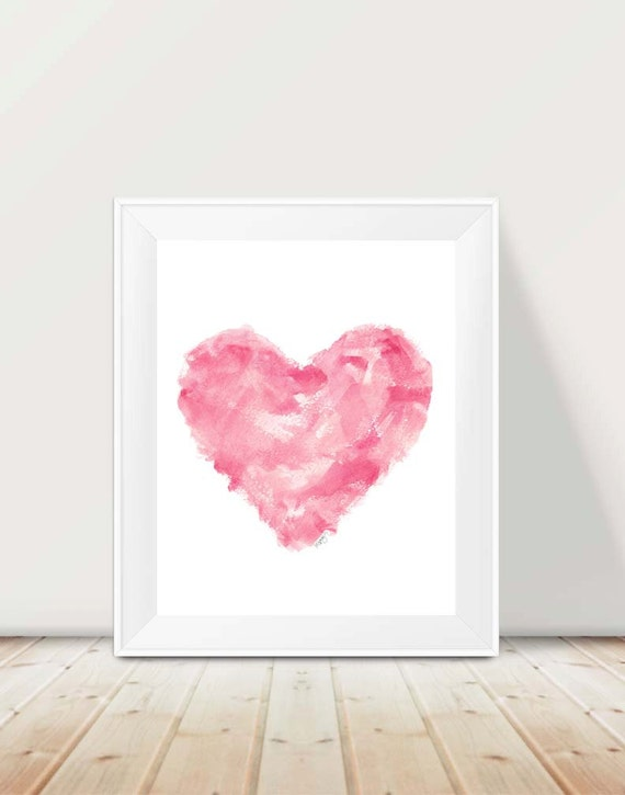 Pink Abstract Heart Print, 11x14 Watercolor