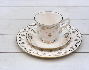 SALE Vintage English Teacup and Saucer Trio Set - White with Gold Fancy Border Decoration- Elegant Classic Tea Cup Saucer and Cake Plate