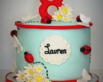 Ladybug & Daisy Fondant Cake Topper 20pc Decoration