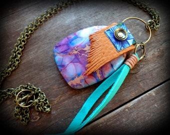 Hippie Boho necklace. long tassel necklace, large jasper gemstone pendant, purple boho necklace, yoga, rustic leather fringe necklace