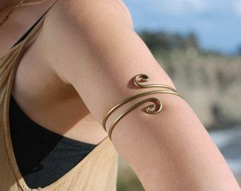 Spiral Upper Arm Cuff, Body Jewelry, Arm Cuff, Upper Arm Bracelet, Upper Arm Band, Armlet, Silver Arm Bracelet, Armband, Arm Jewelry BR1305