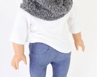 Handmade to fit like American Girl Doll Clothes, 18 Inch Doll Clothes, MODERN HIPSTER, Jeggings, Boatneck Top, Handknit Snood, Ballet Flats