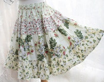 Super Twirly Girl's Long Skirt Mid Calf Length Wild Rose Girls Tiered Twirl Skirt Fall Girl Clothes Size 2T 3T 4 5 6 7 8 Tween Size 10 12 14