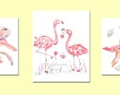 THREE Pink Nursery Prints, Girl's Wall Art, Girl's Nursery Art, Bird, Nursery Print Set, Girl's Nursery Decor, Coral, Baby girl watercolor