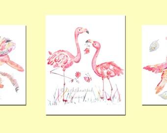 3 Pink Nursery Prints, Girl's Nursery Ideas, Girl's Nursery Art, Baby Girl Gift, Girl's Nursery Decor, Coral, Baby girl watercolor
