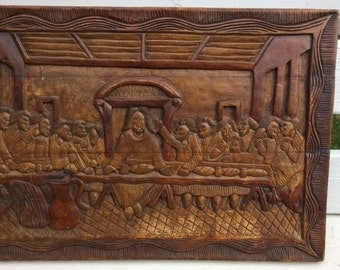 "Rustic Last Supper Wall Hanging - Folk Art Carving on 3 Boards - Primitive Naive style - Big and Unusual 28"" x 19"""
