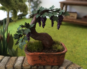 Plant Green miniature bonsai tree vine with grapes Dollhouse scale 1:12