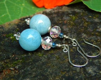 All About that Aquamarine - Gorgeous Natural Aquamarine Beads w Antique Glass Disks, Crystals & Artisan-Made Sterling Silver Ear Wires