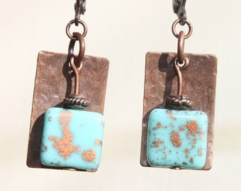 Turquoise Boho Copper Earrings Dangle Earrings Czech Glass Earrings Jewelry Boho Chic Small Earrings Gift for her Gift Ideas