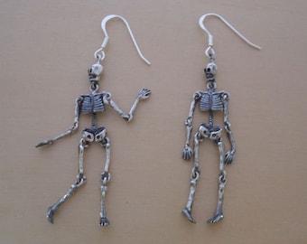 925 Sterling Silver Whole Body Drop Dangling Gothic Skeleton Earrings