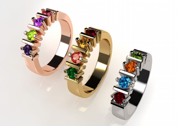 10k Personalized Mothers Straight Bar Ring Solid White Yellow Or Rose Gold  w/ 1 2 3 4 5 or 6 Birthstones Custom Family Jewelry