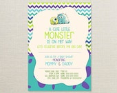 Monsters Inc Baby Shower Invitations, Monsters Inc Invitations, Baby Shower, Monsters Inc Party Theme, Monsters Inc Party