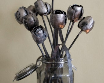 One Dozen wrought iron Tulips, forged forever flowers
