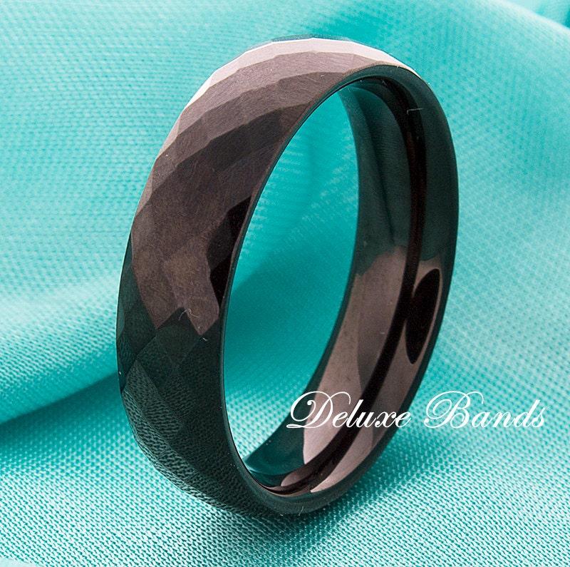 Black Tungsten Wedding Band 6mm Faceted Black Tungsten Wedding