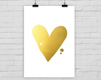 fine-art print heart fake gold love