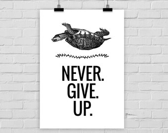 "fine-art print ""NEVER GIVE UP"" turtle vintage"