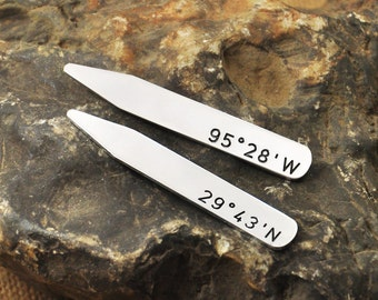 Christmas Gift  for  boyfriend and husband Personalized Collar Stays Coordinate Jewelry - Latitude - Longitude - Custom Collar Stays