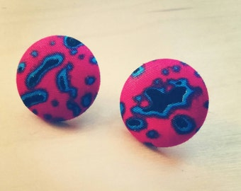 Fabric Covered Button Earrings,  Amoeba (Studs, Accessories)