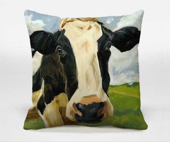 Throw pillow with Farm Animal Art 16x16 18x18 20x20 by CocosDecor