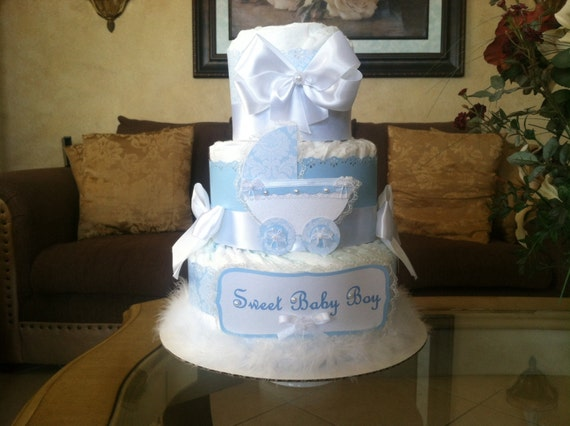 Baby Boy Diaper Cake Elegant Baby Blue Diaper Cake Boy Baby
