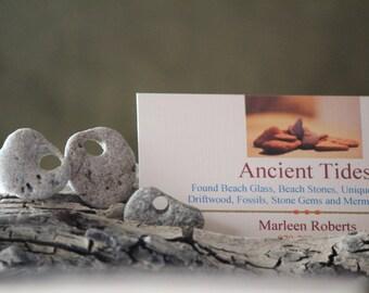 3 Small-Grey-Ocean Tumbled Beach Stones-Holey Rock-Holey Beach Stone-Beach Wedding-Jewelry Supply-BoHo-Mermaid-Surfer-Craft Supply-Item #101