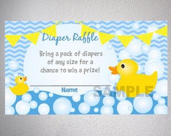 Rubber Ducky Baby Shower Diaper Raffle Tickets, Blue Chevron Boy Baby Shower Ducky Diaper Raffle Tickets, Digital File, INSTANT DOWNLOAD