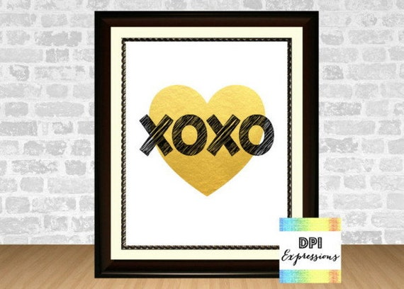 Xoxo Art Print Love Wall Art Printable Gold By Dpiexpressions
