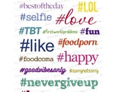 Set of 17 Assorted Hashtags Stickers