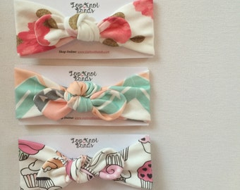 Baby headbands, Top knots, adults, handmade Spring Collection
