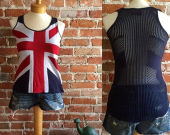 Women's Retro British Flag Racer-back Tank with Crocheted Back, Size X-small
