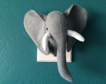 Mounted &  Stuffed (fleece) Elephant Head