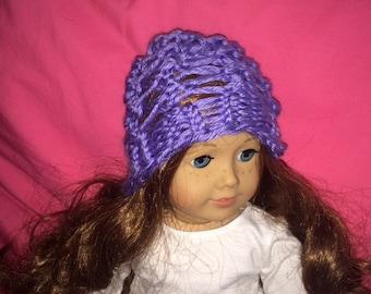 Handmade American Girl doll knit hat, super cute! Fits 18 inch dolls.