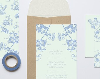 """Floral and Farm Wedding Invitation Set: """"The Homesteader"""" from the Emily Collection"""
