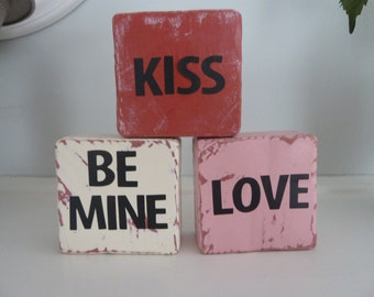 Valentine's Day wooden Block set with vinyl lettering