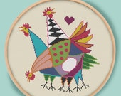 THREE HENS - Modern Counted Cross Stitch Pattern - pdf instant download