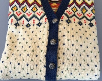 Vintage Wool Norwegan Cardigan Sweater | Fair Isle White Blue Red Yellow Green | KNUT ERICHSEN of Norway | Hand Knit | 1960s