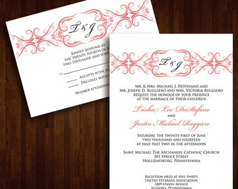 Classy and Formal Monogram Wedding Invitation