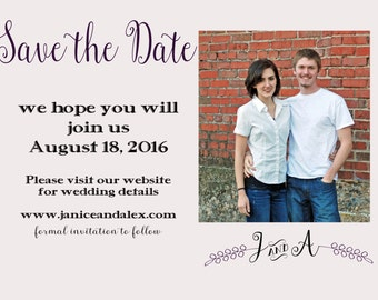 Save the Date Photo Postcard or Magnet or Card BurlapOption