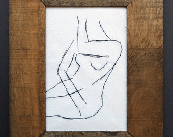 Nude sketch sketch embroidery in a wooden frame