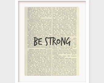 Printable Wall Phrase, Be Strong, Typographic Print, Dictionary Poster, Wall Lettering Art, Motivation, Inspirational Typography Art