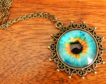 Blue Eyed Pendant and Chain