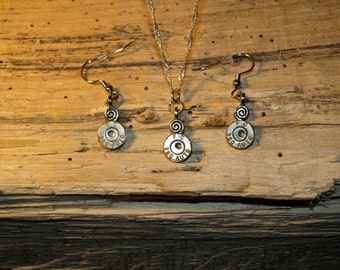 Handmade 380 Bullet Necklace & Earrings. Comes with Nickel or Brass 380 Bullets. With or without Swarovski Crystals. S-659