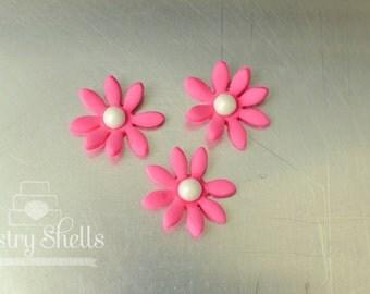 Pink Flowers (24) Cupcake Toppers, Edible Cake Flower-Wedding Favor-Cake Topper-Birthday-Bridal Shower-Girl Baby Shower